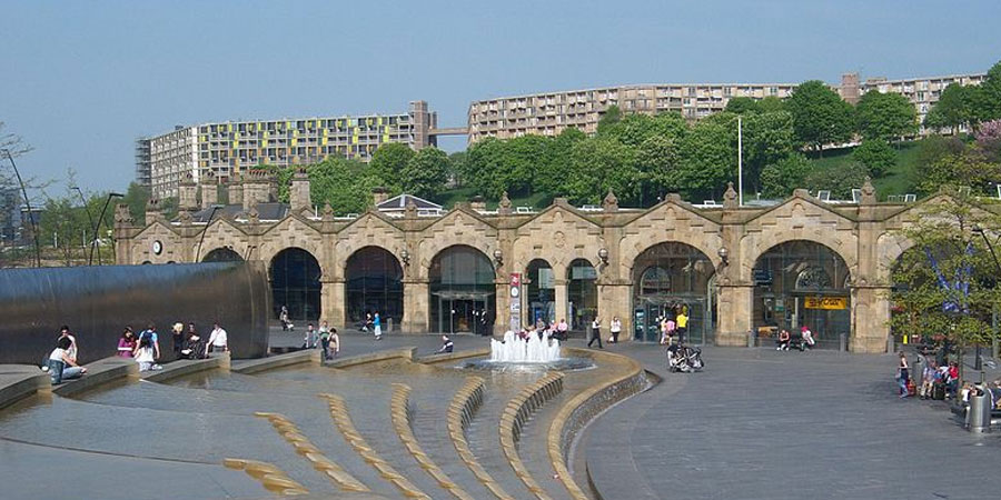 the entrance to Sheffield train station